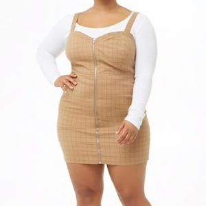 Brown Grid Plus Size Dress